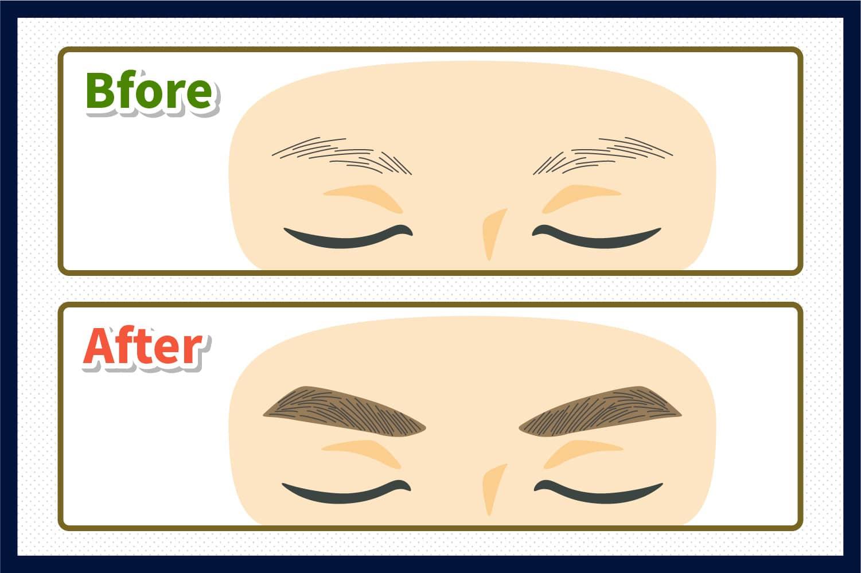 眉毛が全体的に本数が少なく毛質が柔らかい方